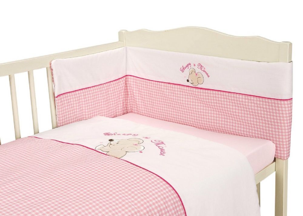 BABY COT GIRLS NURSERY BEDDING QUILT BUMPER & SHEET PINK COLOUR MOUSE DESIGN